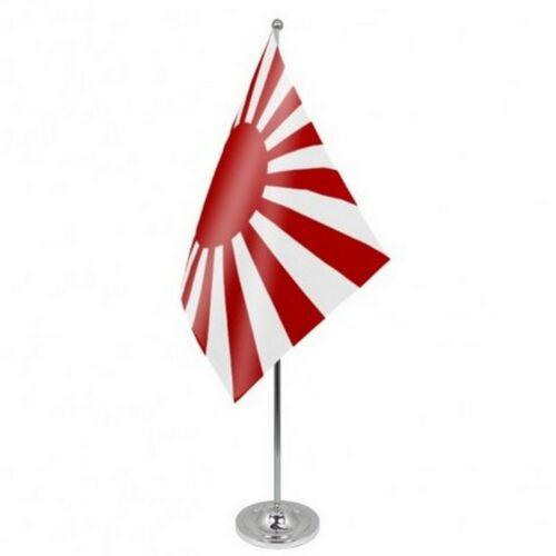 Japan Rising Sun Navy Ensign Satin & Chrome Premium Table Flag