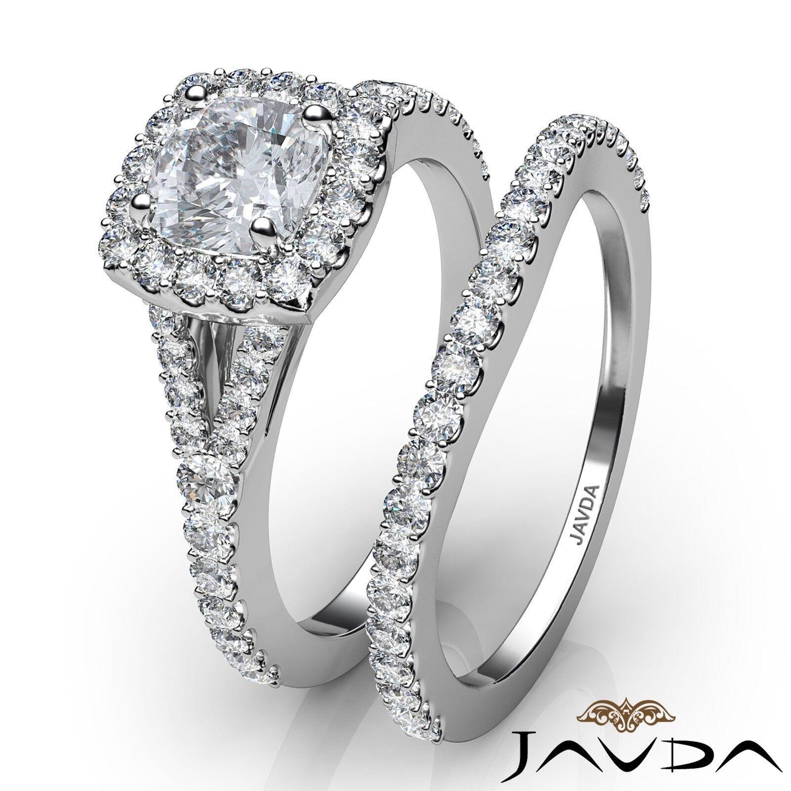 1.5ctw U Cut Pave Halo Bridal Cushion Diamond Engagement Ring GIA F-VS2 W Gold 3