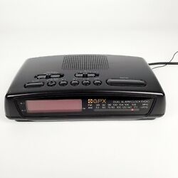 Gran Prix Dual Alarm Clock AM/FM Radio Black D602NR Tested*
