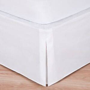 White luxury hotel bed skirt tailored pleat 14 drop for Luxury hotel 660 collection bed skirt