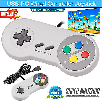 SNES Controller USB For PC/Mac Super Nintendo Games Retro Classic Gamepad US