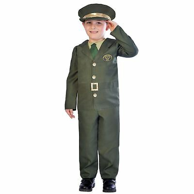 Kids Boys Wartime Military Army Officer British Fancy Dress Book Week Costume - British Army Costume