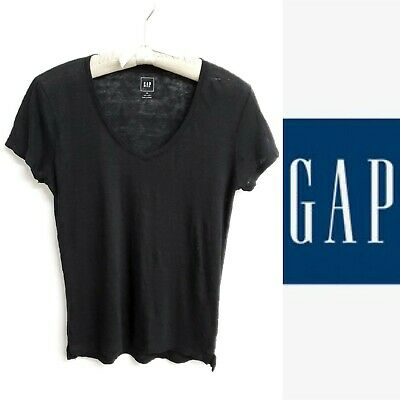 GAP Women's Black Soft Linen Knit V-Neck Tee/T-Shirt~XS