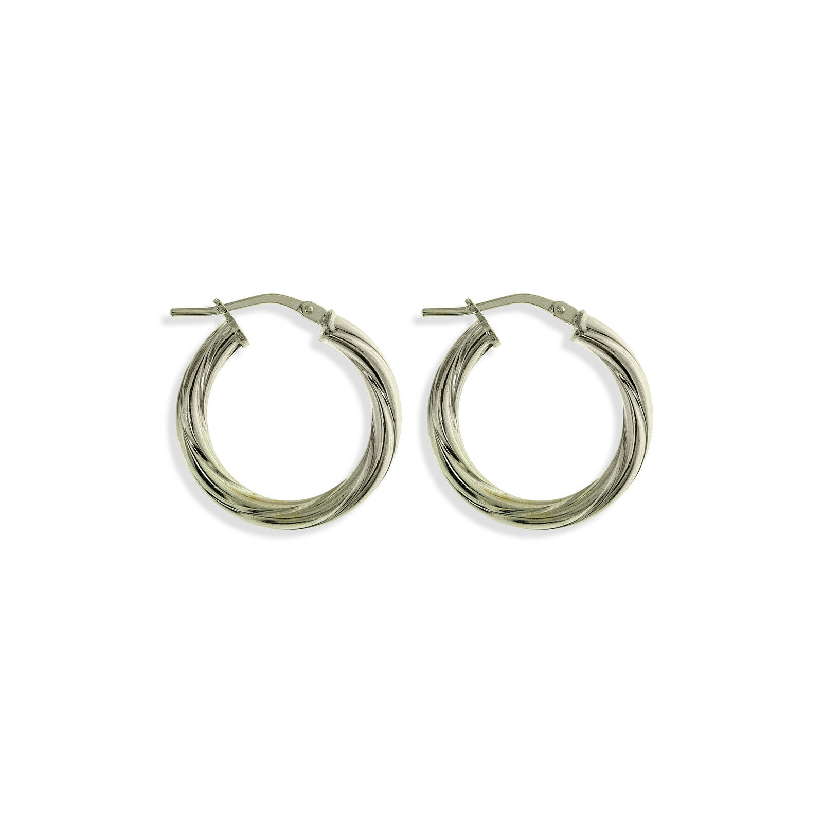 fef580ed5 Details about STERLING SILVER ROUND CREOLE TWISTED TUBE HOOP RIBBON SLEEPER EARRINGS  PIERCED