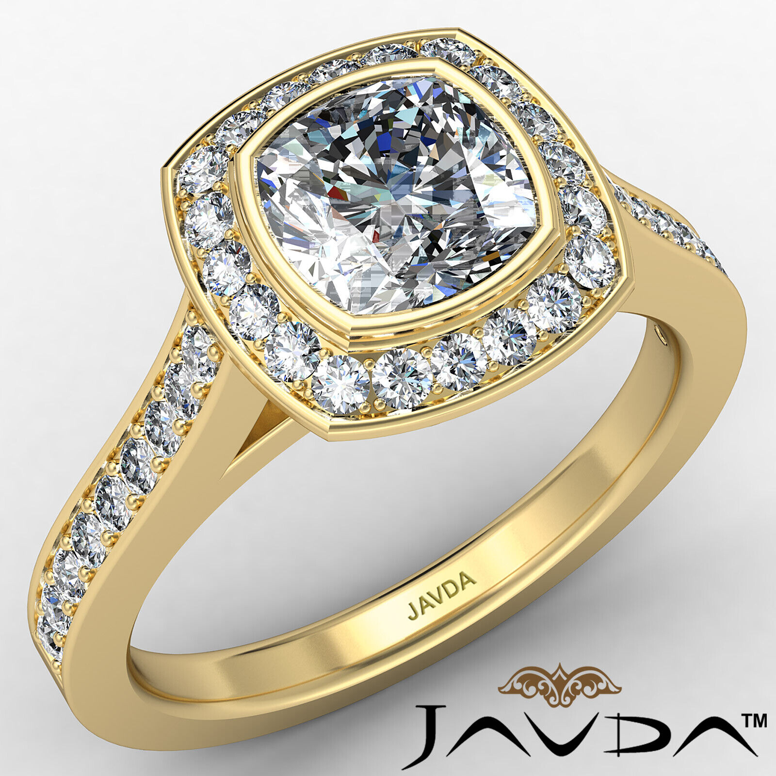 Micro Halo Cushion Diamond Engagement Ring GIA H Color & VS1 clarity 1.4 ctw 1