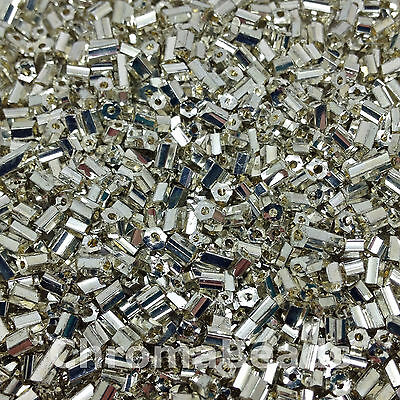 50g glass HEX seed beads - Silver Metallic - size 11/0 (approx 2mm) 2-cut