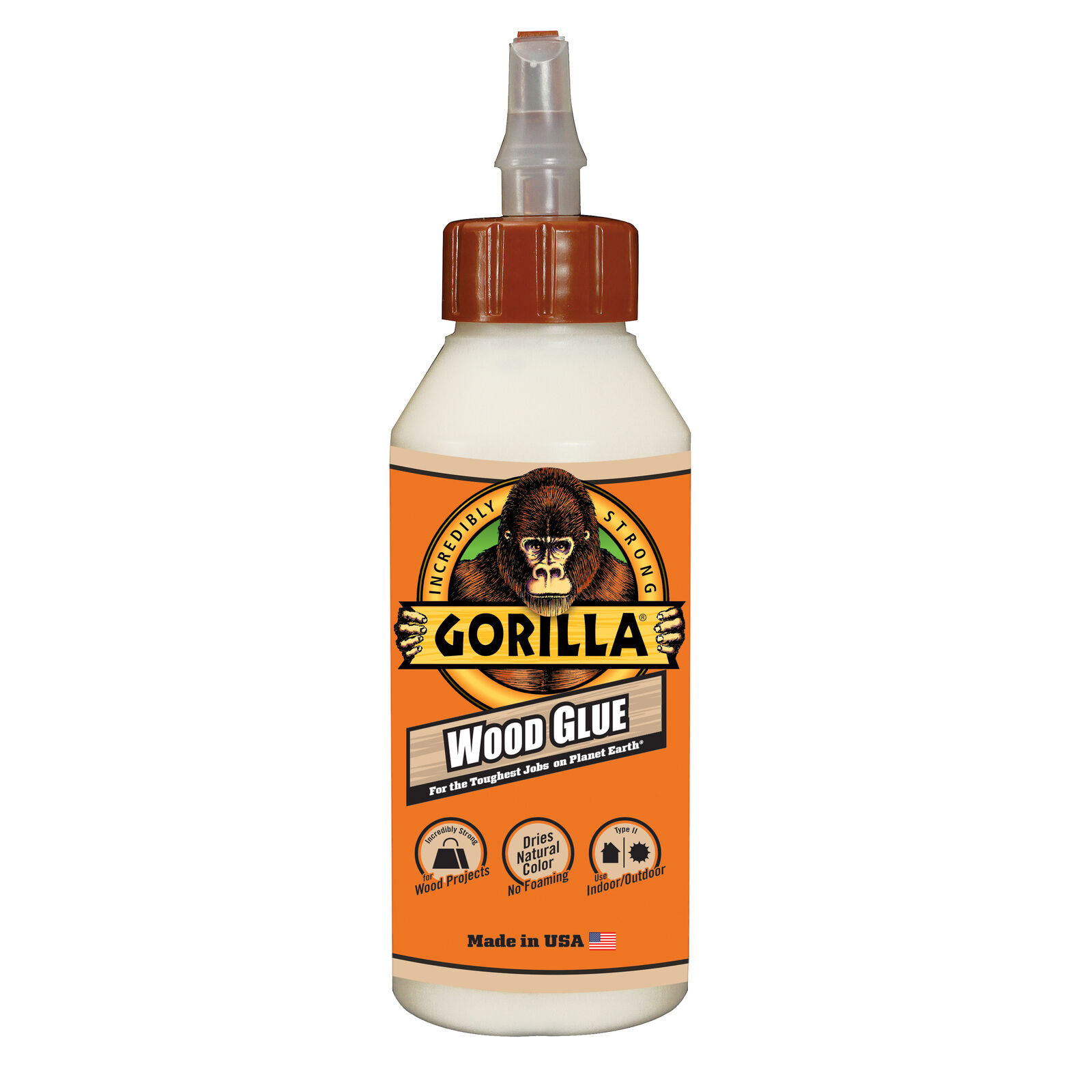 Gorilla Glue Wood Glue Original Liquid 8 Oz 6200001 hardwoods, softwoods