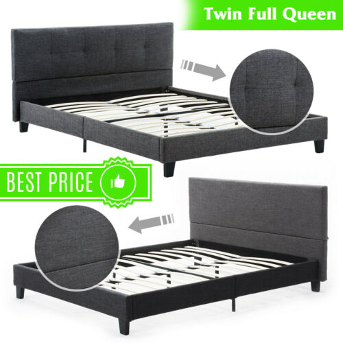 Twin Full Queen Size Bed Frame Platform Upholstered Headboar