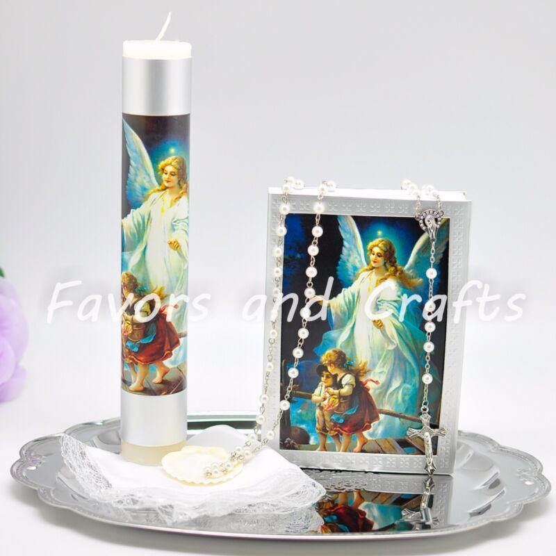 Guardian Angel Baptism Candle Set Boys Girl Set de Vela de Bautizo Christening