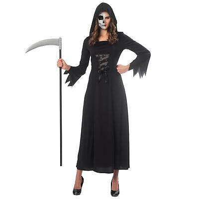 Ladies Grim Reaper Death Black Robe Halloween Fancy Dress Costume Adult's - Grim Reaper Robe Kostüm