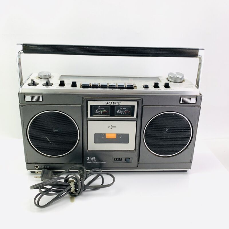 SONY CF-520 CASSETTE RECORDER STEREO GHETTO BLASTER BOOMBOX  VINTAGE
