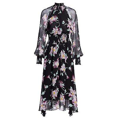 A.L.C ALC Casey Black Floral Smocked Long Sleeve Silk Dress Size 6 New