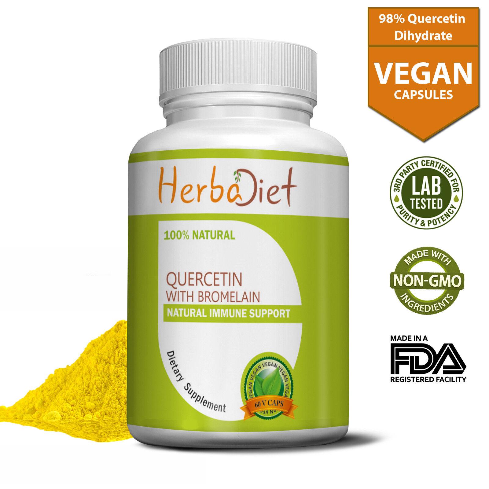 Quercetin with Bromelain Vcaps 500mg Vegetarian Capsules Immune Cardio Support
