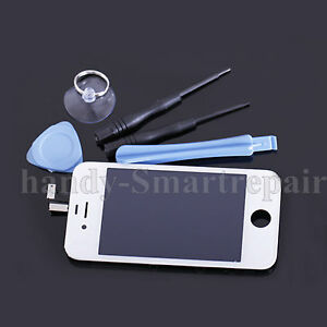 lcd display f r iphone 4 4g wei frontglas front glas reparatur kit werkzeug d14 ebay. Black Bedroom Furniture Sets. Home Design Ideas