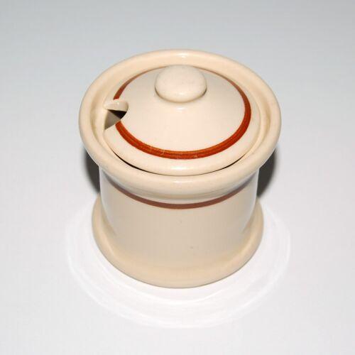 CARR CHINA Restaurant Glow-Tan Brown Band Mustard Condiment Jar Pot & Lid 1930