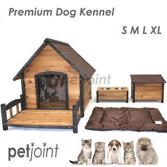 Wooden Pet Puppy Dog Kennel House Timber Log Home Indoor Outdoor