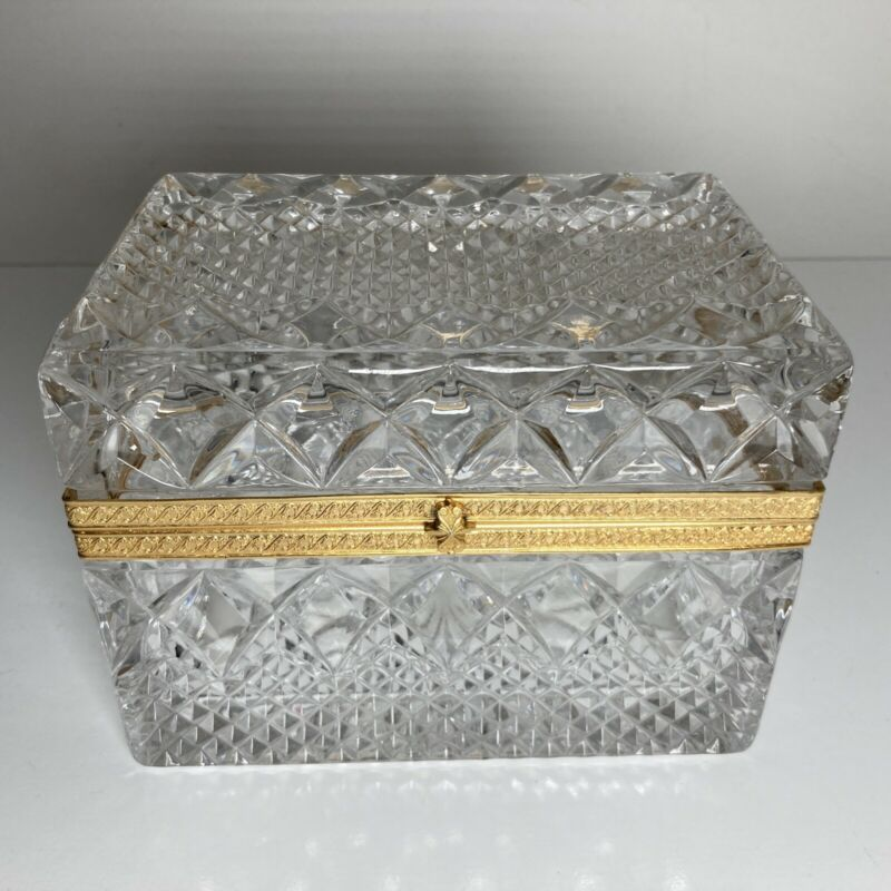 Vintage French Crystal Cut Glass Dresser Trinket Jewelry Hinged Box Casket