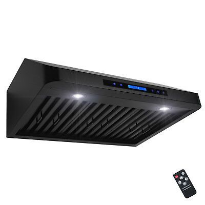 "30"" Under Cabinet Black Stainless Steel Touch Panel Kitchen Range Hood Cook Fan"