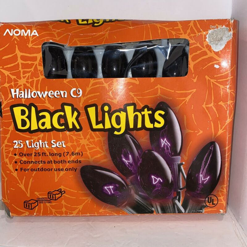 Noma Halloween C9 Black Lights 25 ft Light String Set Outdoor Connects both Ends