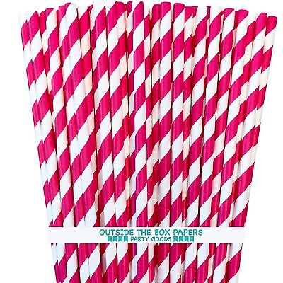 Paper Straws - Hot Pink White - Striped - 50 Pack- Outside the Box Papers - White Straws