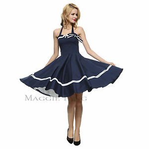 Maggie-Tang-50s-60s-Nautical-Sailor-VTG-Rockabilly-Pinup-Party-Swing-Dress-S-515