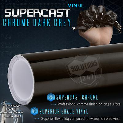 Black Grey Supercast Flex Stretch Mirror Chrome Vinyl Bubble Free   36 x 60 In