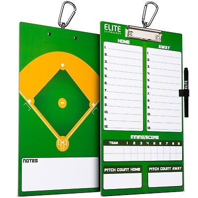 Elite Clipboards Double Sided Dry Erase Coach Baseball Lineup Board with (Double Sided Dry Erase Marker)