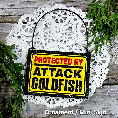 Deco Mini Sign Protected By Attack Goldfish Gag Gift Fish Aquarium Decor New Usa