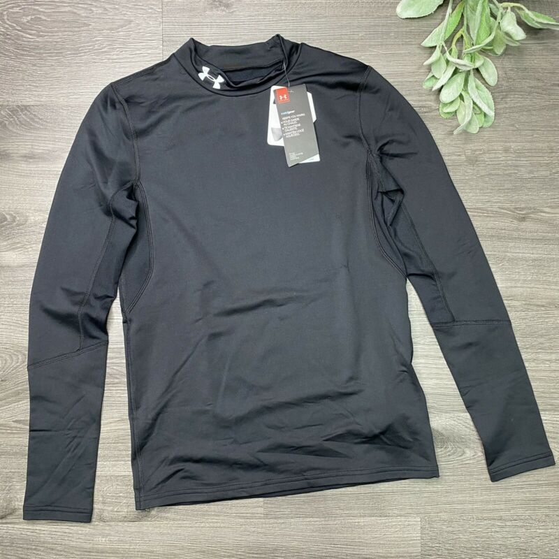 Under Armour Boys Youth XL ColdGear Fitted Black Mock Turtle Neck Shirt New
