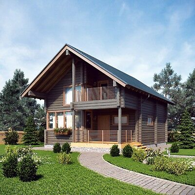Laminated Log House Kit Engineered Prefab Diy Building Cabin Home Kit1371 Sq.ft