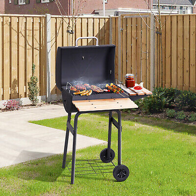 Thermometer Stand (Outsunny Holzkohle Grillwagen Kohlegrill Standgrill mit Thermometer 3 x Ablage)