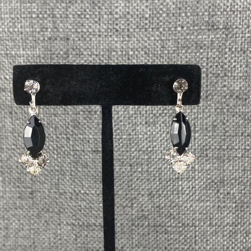 Vintage Black & Clear Crystal Screw Back Earrings