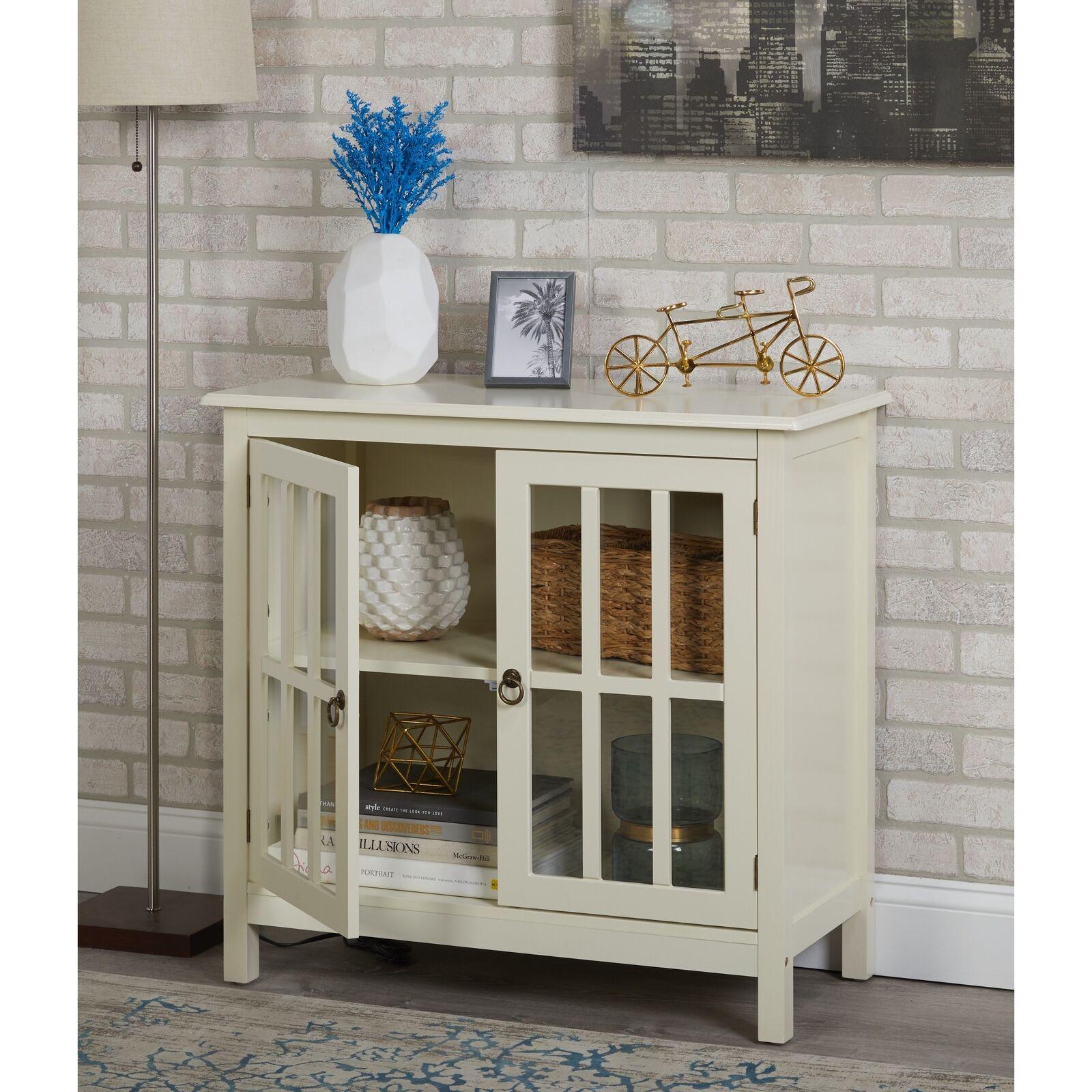 Small Glass Door Cabinet Display Antique White Wood 2 Door 2 Shelf