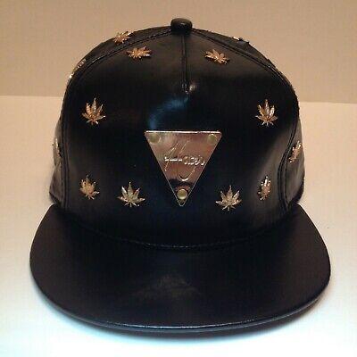 =HATER Hat= Black Leather Weed Snapback. Big Nook Marijuana Adjustable Cap 2009