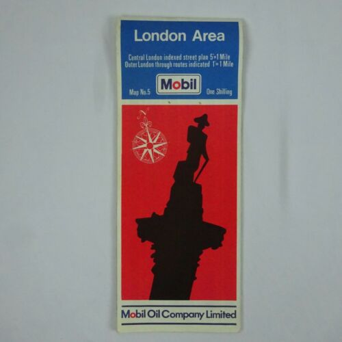 "Vintage 1966 Mobil Map of London Area 36"" x 23"""