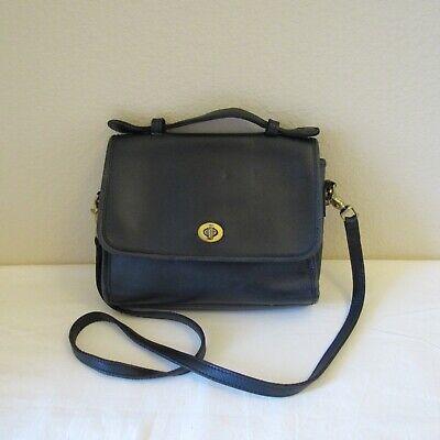 Coach Vintage Satchel Small Dark Blue Leather No. 9870 Purse Handbag