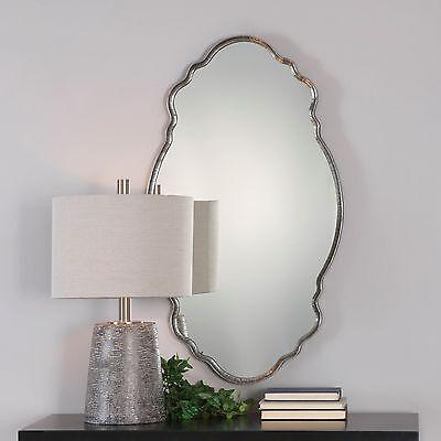 "Venetian Shaped Wall Mirror Silver 36"" Oval Hammered Metal Ruffle Edge Bathroom"