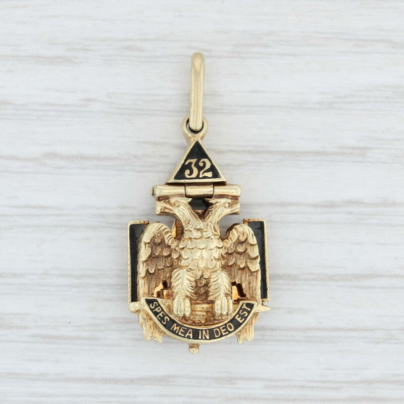 Masonic Cross Fob - 14k Gold Scottish Rite Rose Croix Yod Blue Lodge Vintage