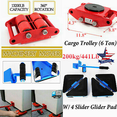 6ton Heavyduty Machine Dolly Skate Machinery Roller Mover Cargo Trolley4 Slider