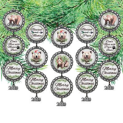 Bottle Cap Ornament / Mama Bear, Papa Bear /2018 Year Charm /Can Be (Ornament Year Charm)
