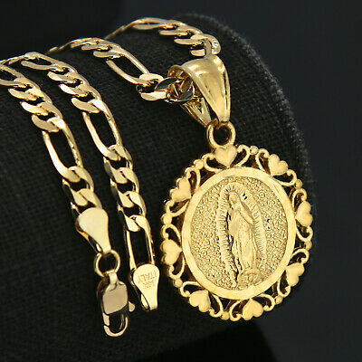 """Jewellery - 18k Gold Plated Lovely Round Virgin Mary Pendant 5mm 18"""" Figaro Necklace Chain"""