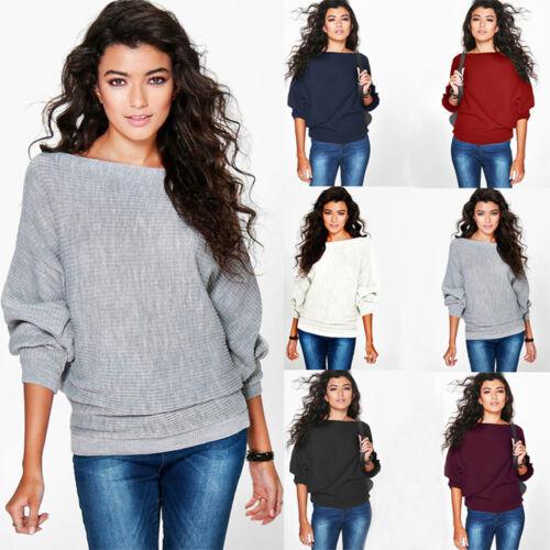 Damen Pullover Strickpullover Pulli Batwing Baggy Sweater Sweatshirt Bluse Tops