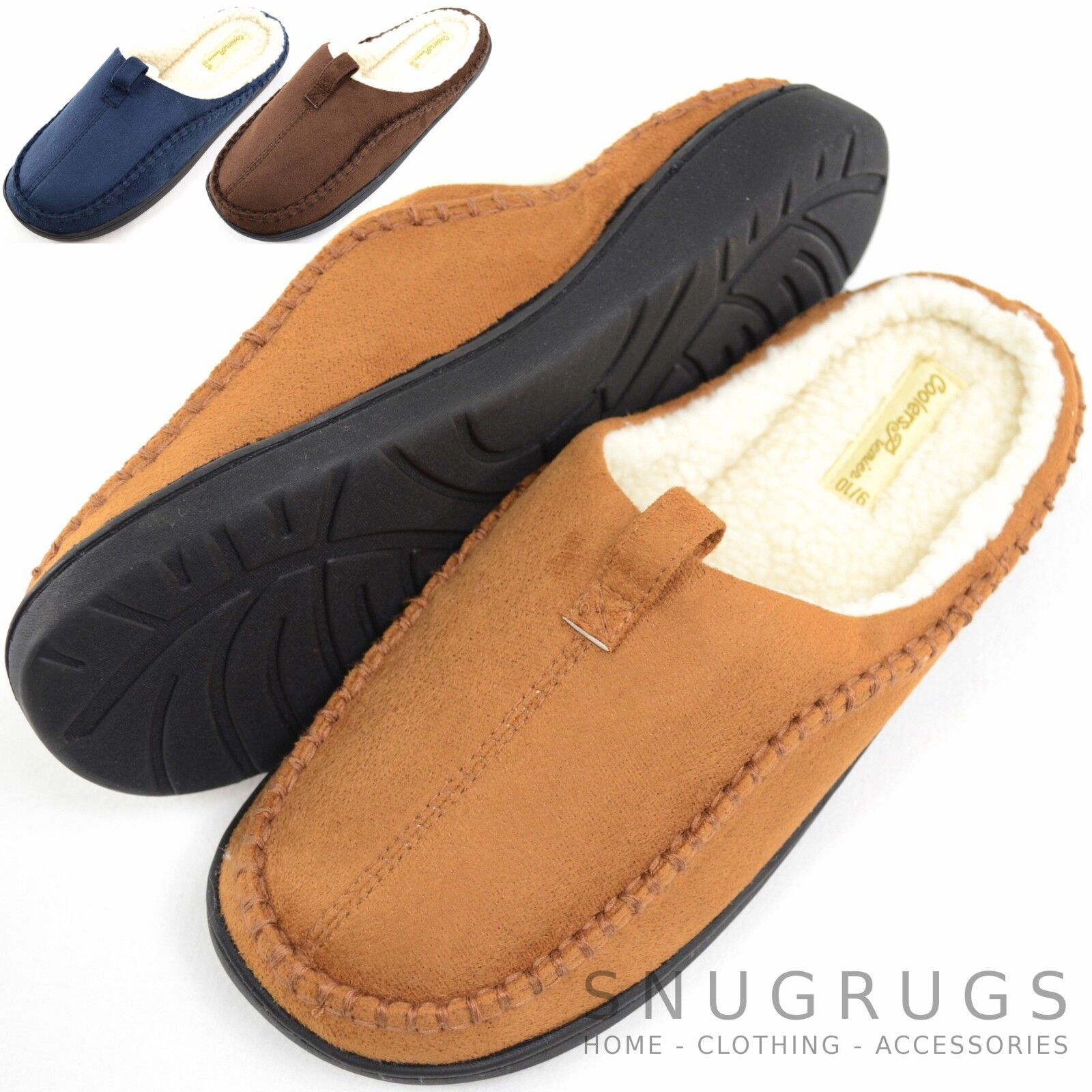 163f7fa8d Details about Mens Soft Fleece Mules / Slippers / Indoor Shoes with Warm Faux  Fur Inners