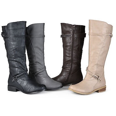 - Journee Collection Womens Wide and Extra Wide Calf Ankle Strap Knee High Boots