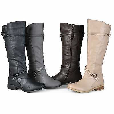 Journee Collection Womens Wide and Extra Wide Calf Ankle Strap Knee High Boots