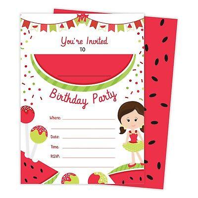 Watermelon 1 Happy Birthday Invitations Invite 25ct w Envelopes + Seal Party
