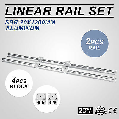 Sbr 20-1200mm 20mm Linear Slide Guide Shaft 2 Rail4sbr20uu Bearing Block Cnc Se