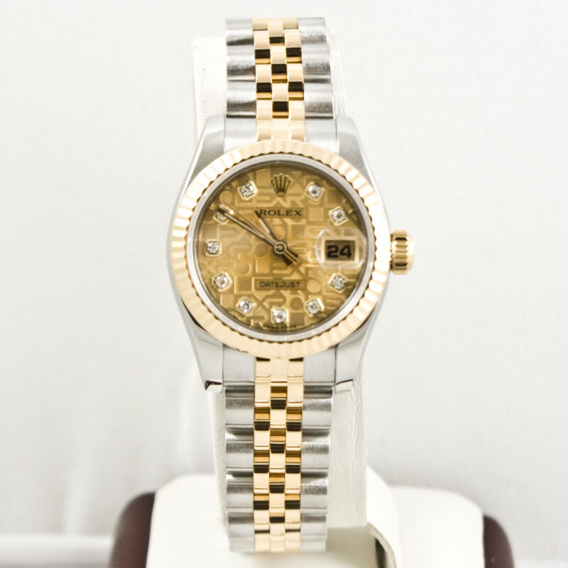 Rolex Ladys Steel & Gold Datejust 179173 Factory Champagne Anniv Diamond Dial