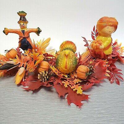 Vintage Florabelle Turkey Scarecrow Indian Blow Mold Thanksgiving Decoration
