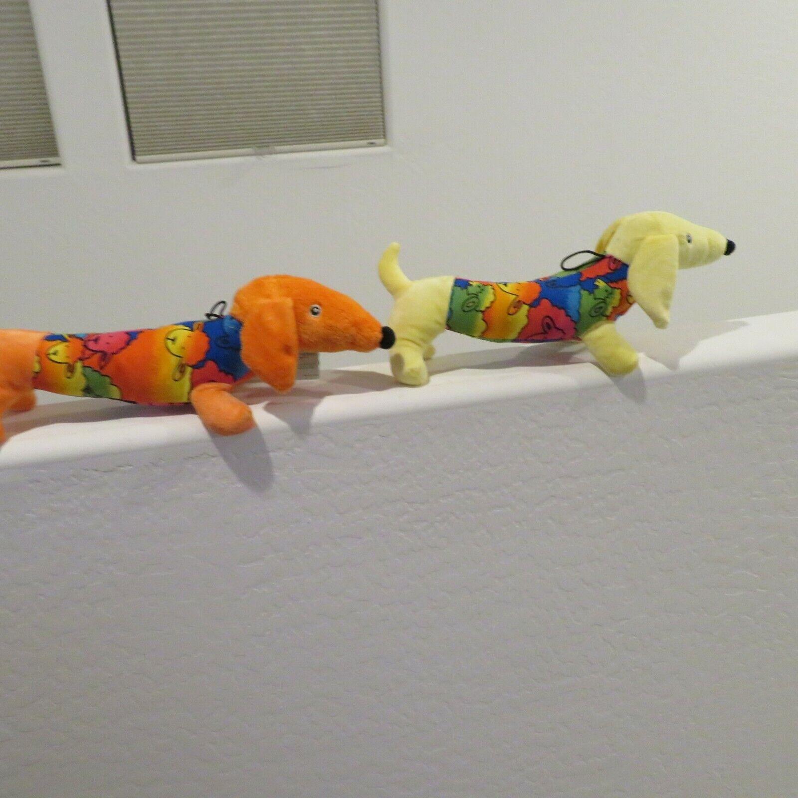 2 Plush Day Glow Squeak Dachshund Dog Toy Stuffed Animals - Orange Yellow NWT - $19.99